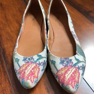 Madewell 7.5 Floral Flats, Almond toe